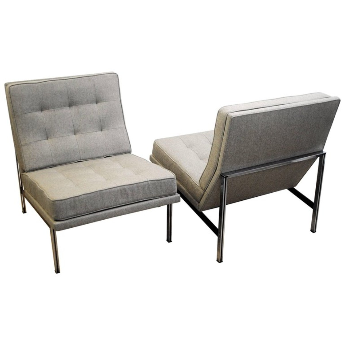 Pair Of Parallel Bar Lounge Chairs By Florence Knoll, 1950s   New Upholstery