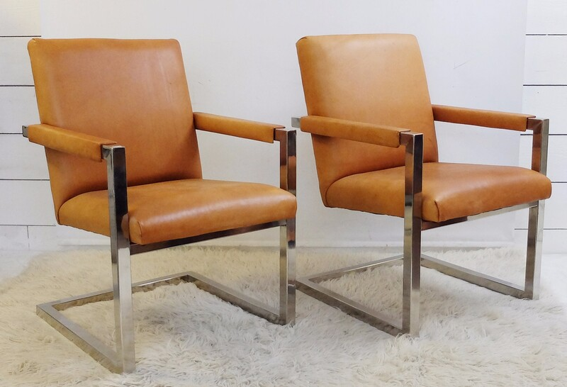 "Pair of Ralph Lauren ""Polo"" Chrome Framed Armchairs in Cognac Leather"