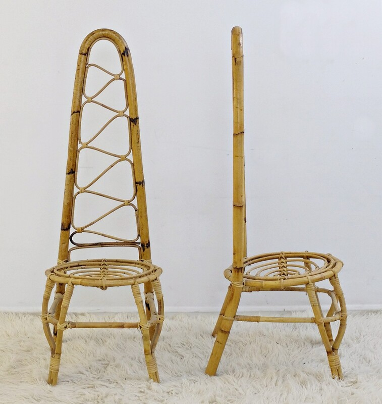 Pair of Rattan & bamboo High Back Chairs
