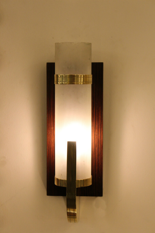 Pair of rosewood, bronze and sandblasted wall lamps 30'