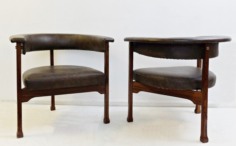 Pair of rosewood & brown Leatherette armchairs -  Saporiti, italy