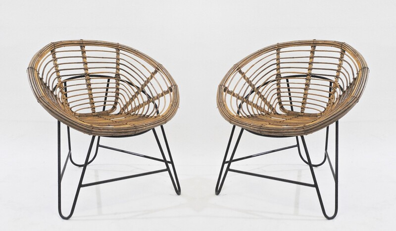 Pair of Round Rattan Armchairs with Metal Feet