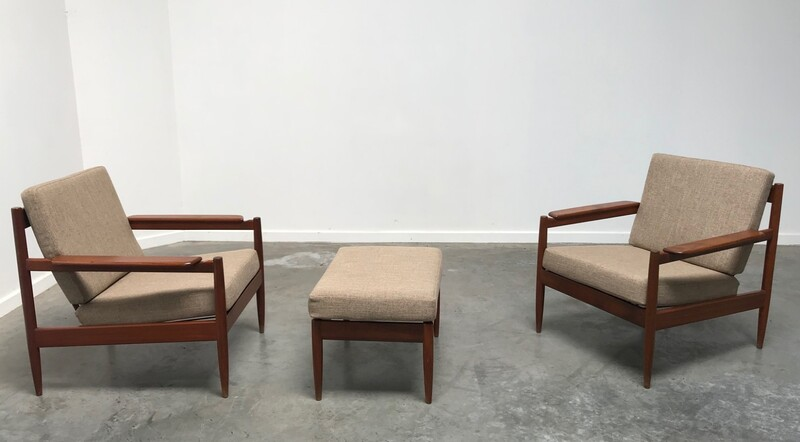 Pair of Scandinavian armchairs + ottoman, teak-60's