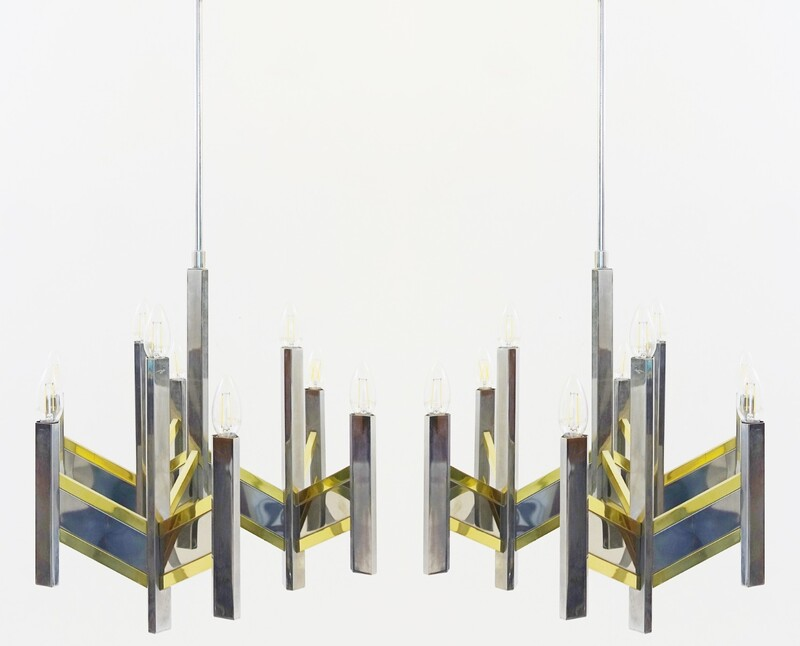 Pair of Sciolari chandeliers brass & chrome with 8 lights, 1970`s ca, Italian