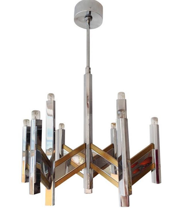 Pair of Sciolari Nine Light Chrome and Brass Chandelier