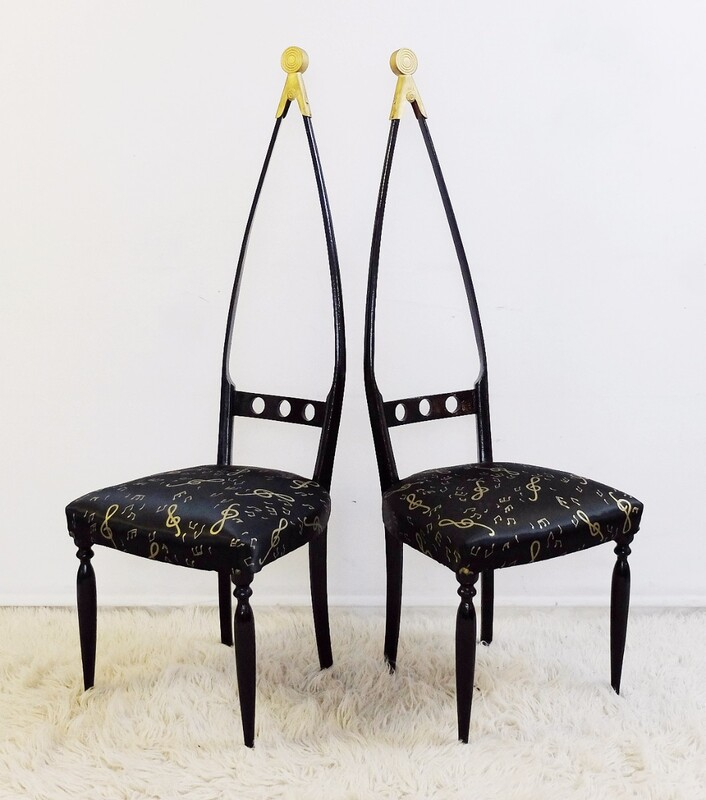 Pair of sculptural black lacquered chairs by Pozzi e Verga, 1950 Italy