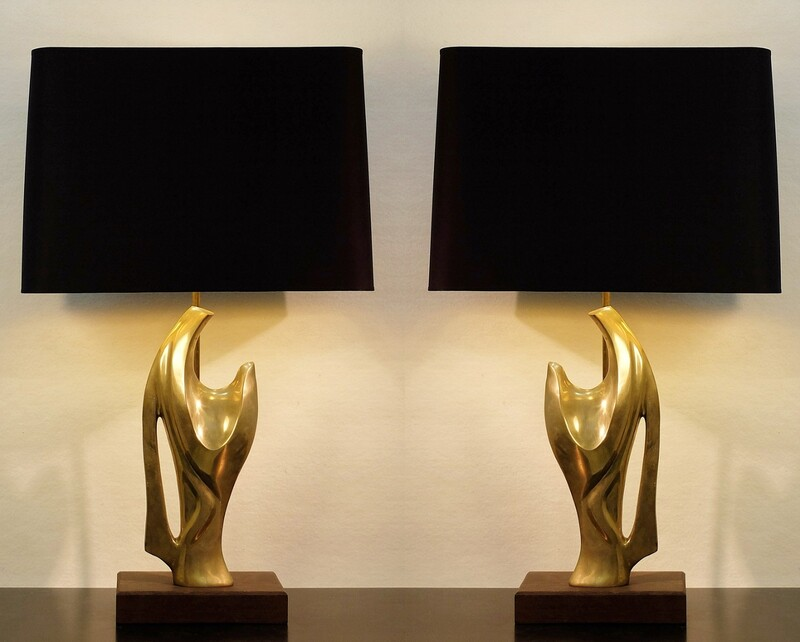Pair Of  Sculptural brass table Lamps 70'