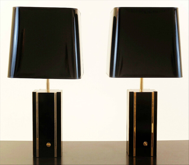 Pair Of Synthetic Resin And brass Table Lamps - black lacquer/Gold shade.