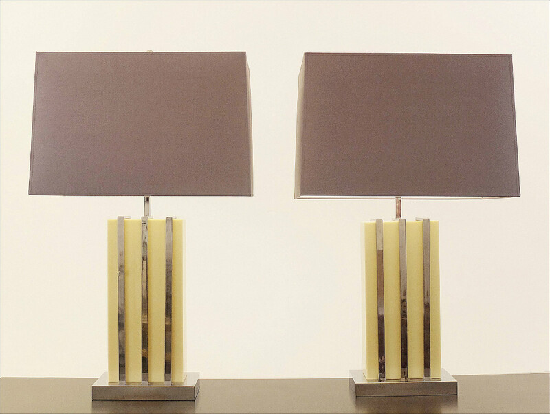 Pair Of Synthetic Resin And Chrome Table Lamps