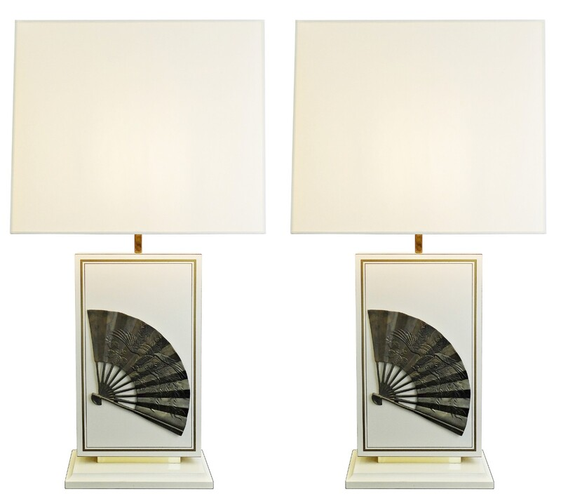 Pair of table lamp with  Brass Chinese Fan