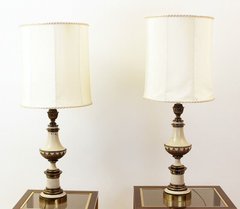 Pair of table lamps, gilded bronze