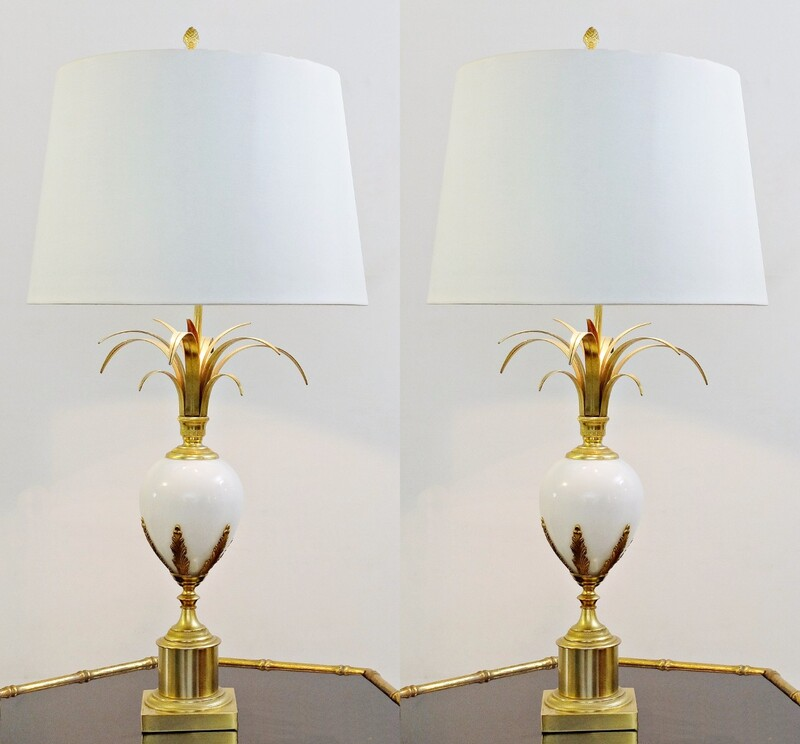 pair of Table Lamps with White Glass Egg, in the Style of Maison Charles, France 1960s