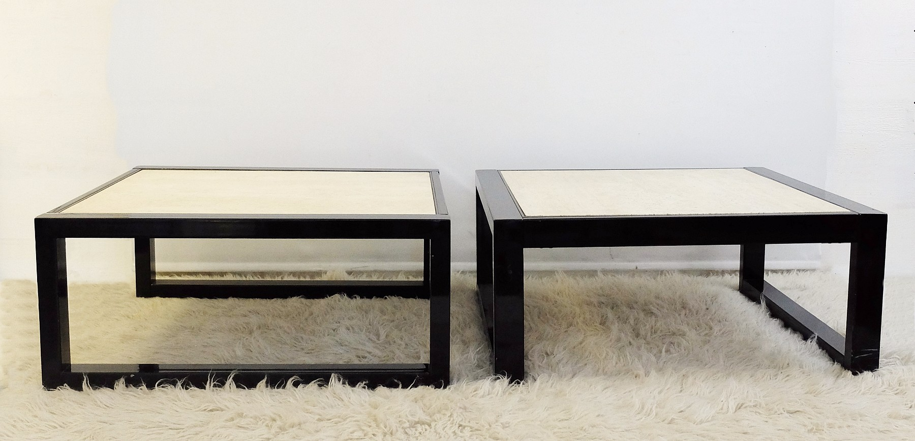 Pair of travertine and bronze coffee table desk table for Coffee tables 80cm wide