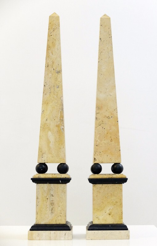 Pair of Travertine Marble Obelisk