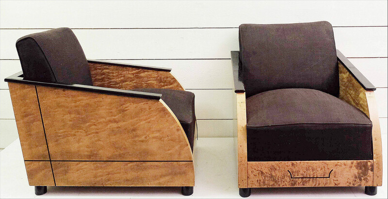 Pair Of Vintage Art Deco Club in polished burr wood
