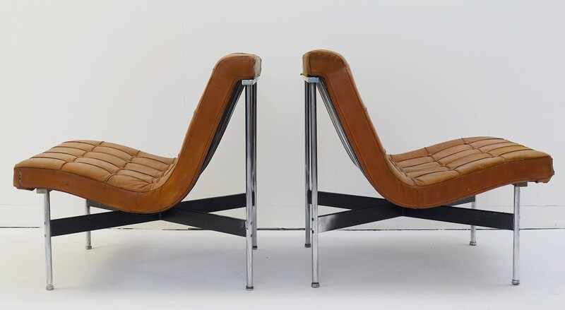 Pair of William Katavolos armchairs for ICF Milano, Italy
