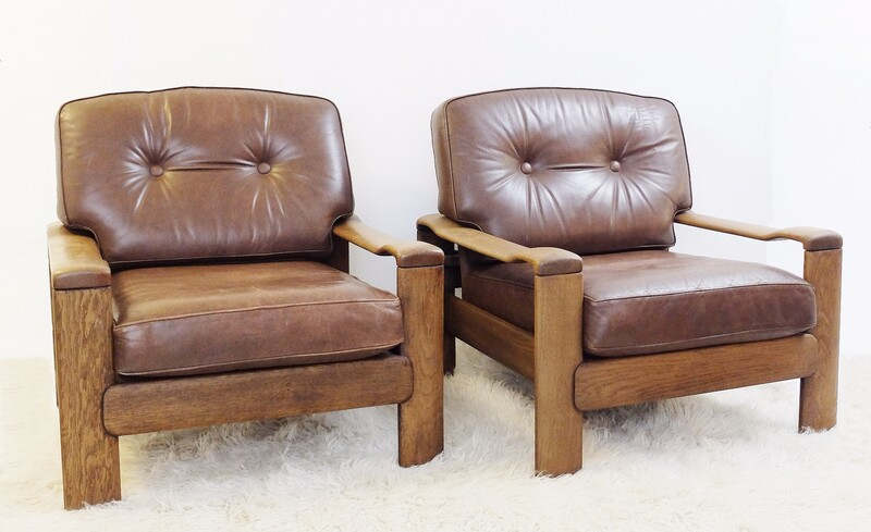 Pair of wood and brown leather armchairs
