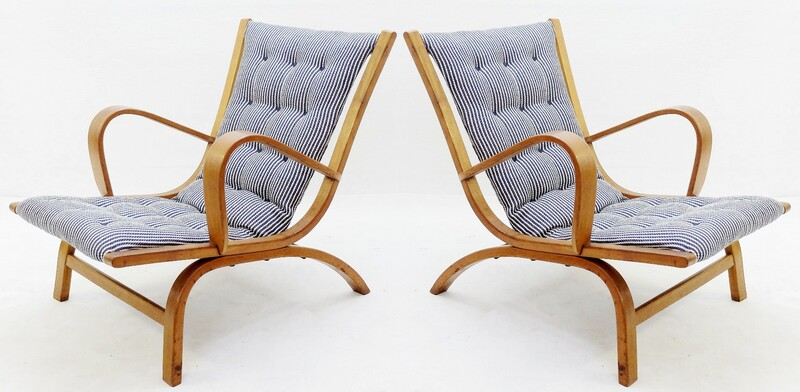 Pair of wood Lounge chairs - Blue White Striped Lined New Upholstery