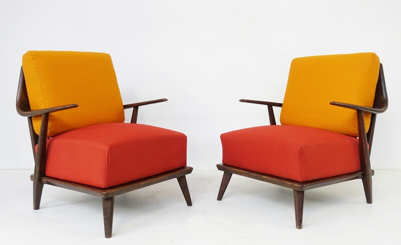 pair of wooden frame chairs - new upholstery