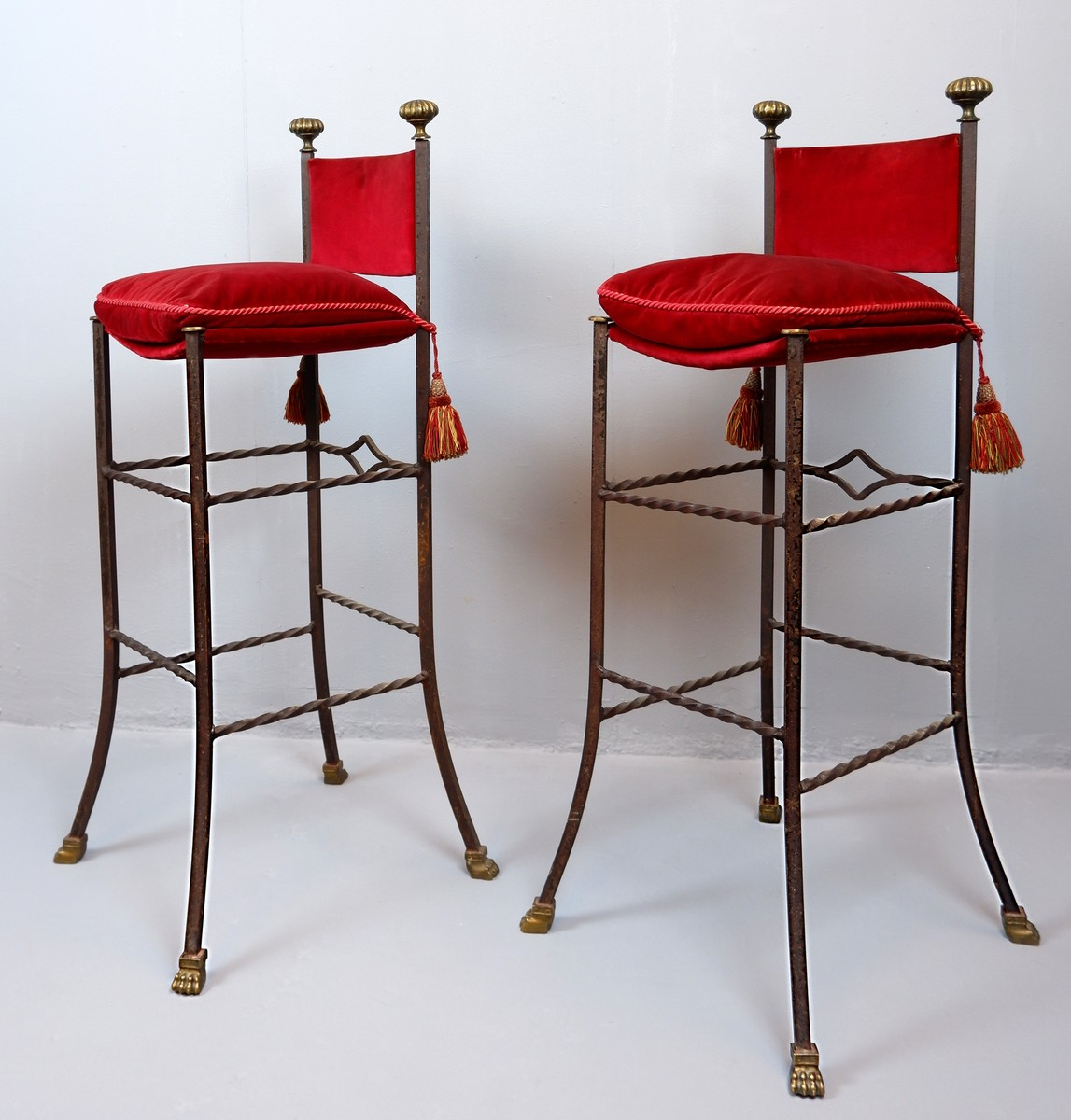 Pair Of Wrought Iron And Red Velvet Bar Stools Via Antica Recent Added Items European Antiques Decorative