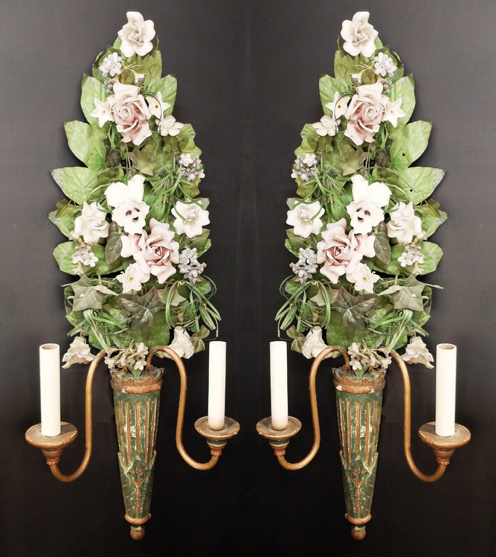 Pair of wrought iron tole & porcelain flowers wall sconces
