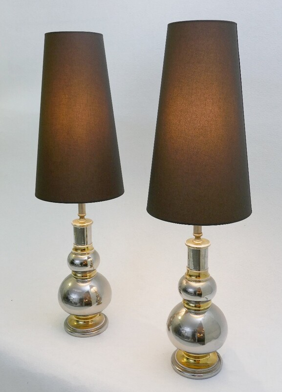 Paire of Table Lamps In Ceramic Silver And Gold