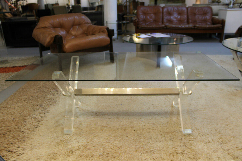 Plexi and glass coffee table