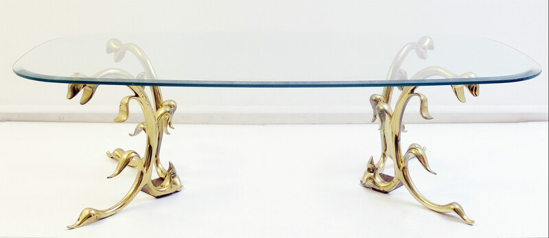polished brass and glass coffee table - Italy