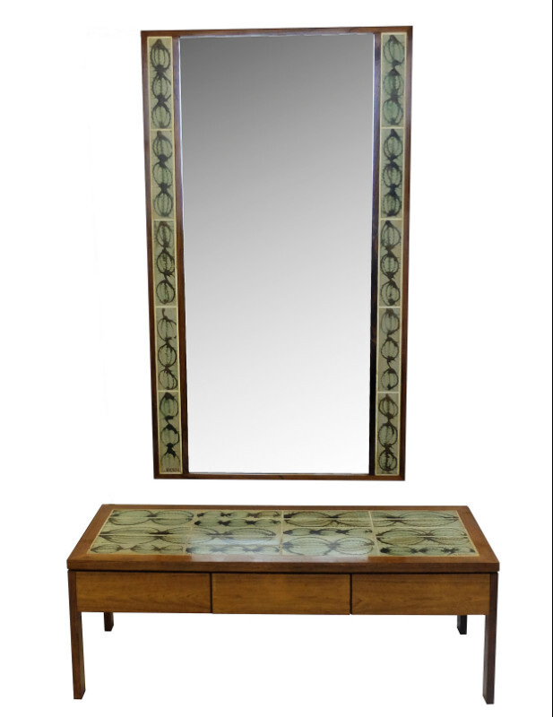 Poul Jensen and L. Hjorth Low Table and Tiled Mirror - c. 1950