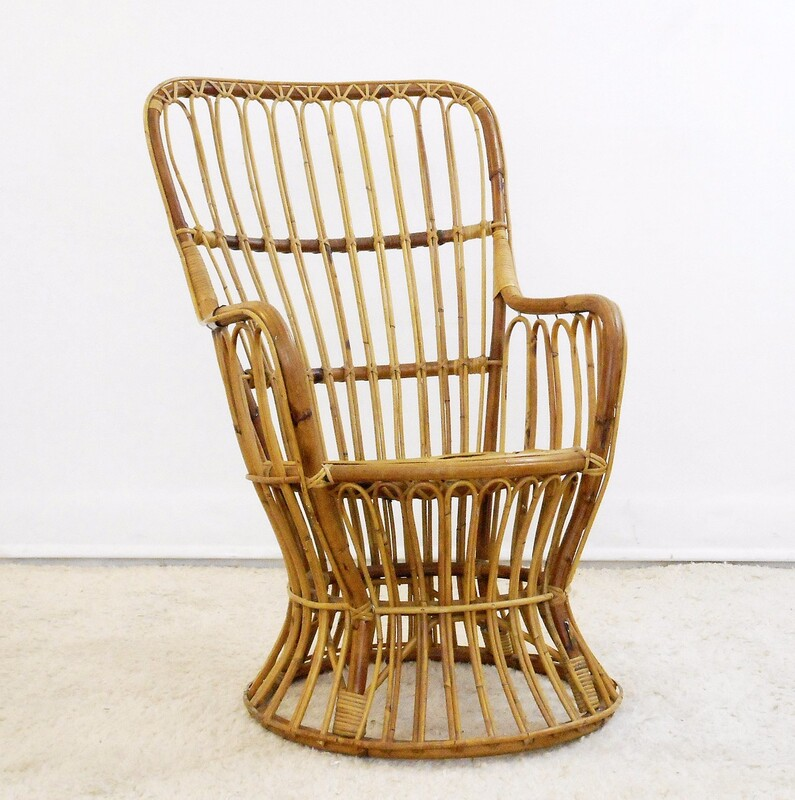Rattan armchair in the Style of Gio Ponti