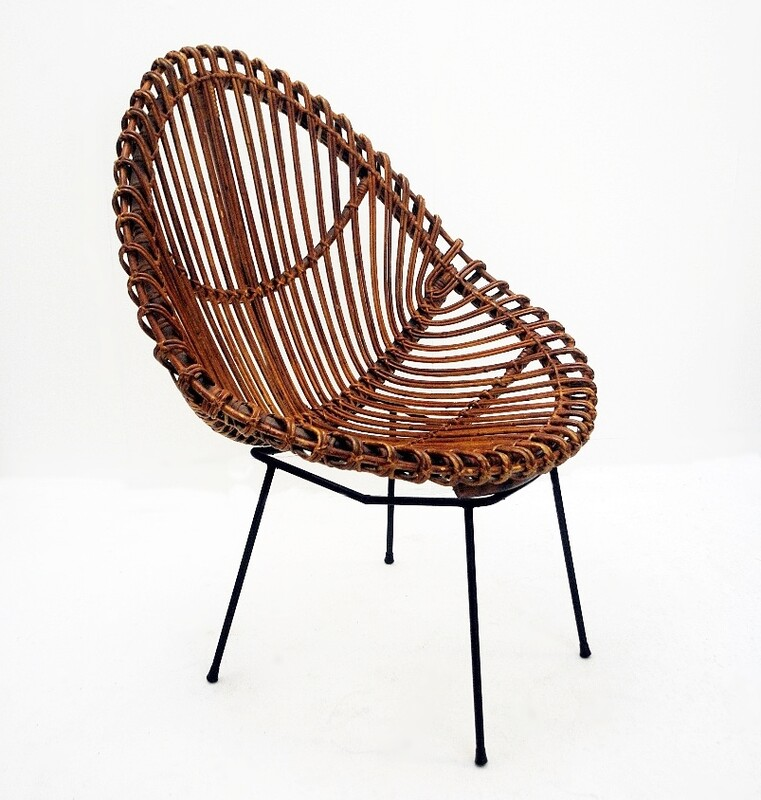 Rattan Armchair with Metal Feet