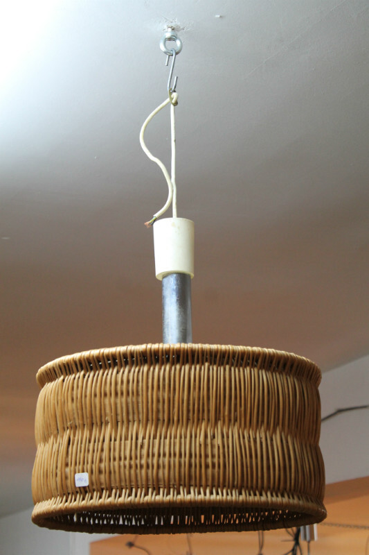 Rattan ceiling light - c. 1970