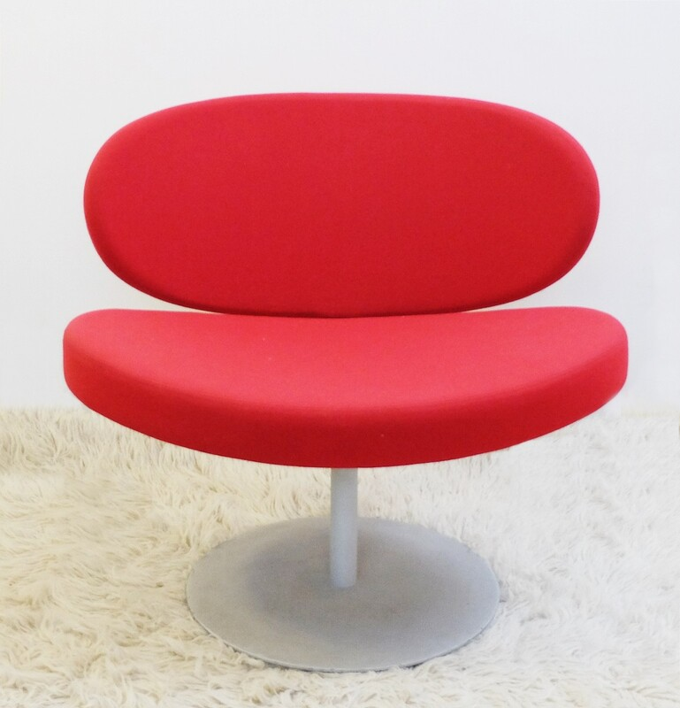 red swivel chairs with disc base