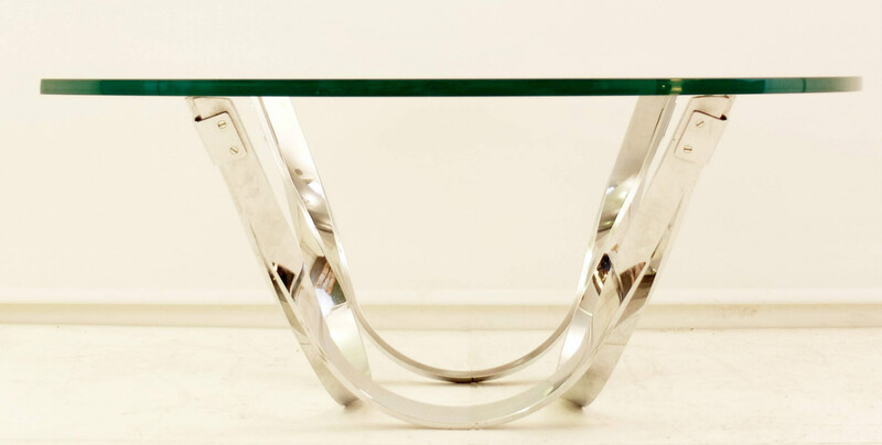 Roger Sprunger-Style Chrome and Glass Coffee Table