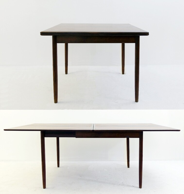 rosewood flip-top extendable table with brass hinges
