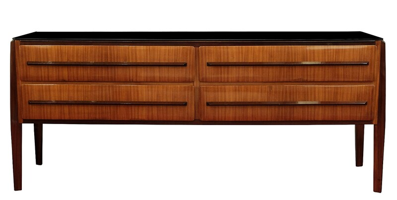 Rosewood italian sideboard with Black Glass Top