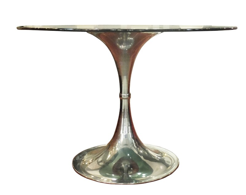 Round dining table in chrome &smoked glass top