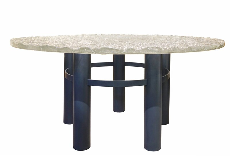 round dinner table with glass slab top - 2 available