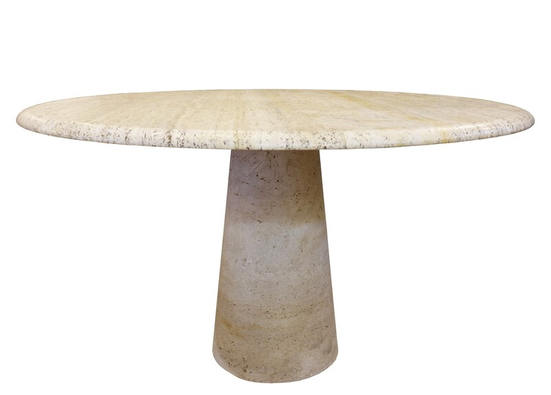 Round Travertine Dining Table - 1970