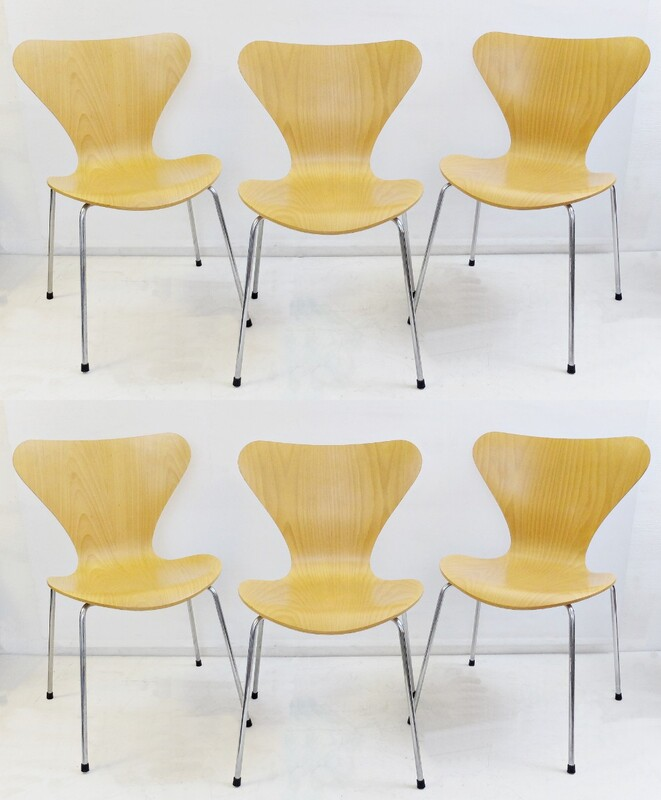 Series 7 Beech bent plywood Dining Chairs by Arne Jacobsen for Fritz Hansen - set of 6
