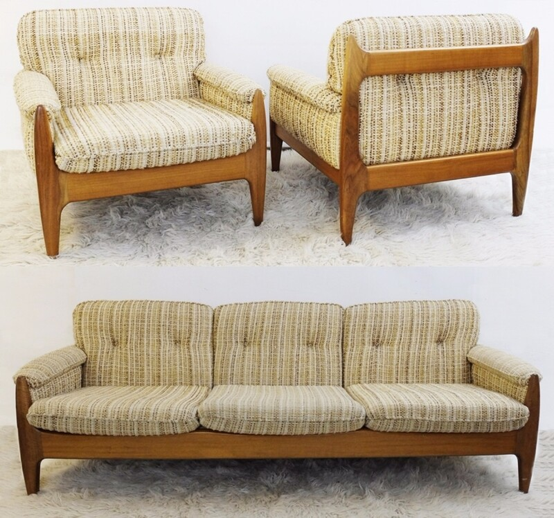 set of 2 armchairs & 1 Sofa C. 1960 Attr. Sergio Rodriguez