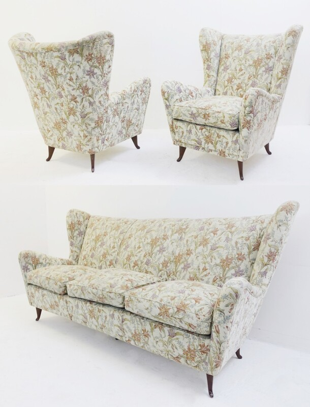 set of 2 High Back Armchairs & 1 sofa by gio ponti with original floral fabric