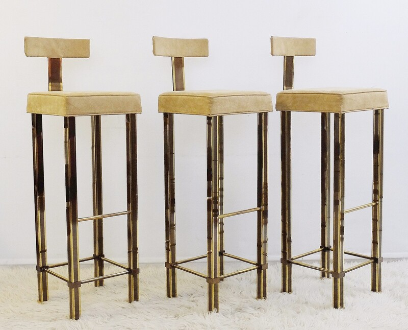 Set of 3 bar stools -steel- nubuck