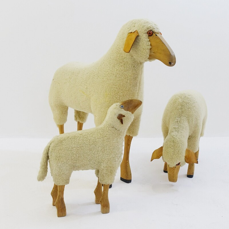 set of 3 sheeps by Hanns Peter Krafft and made by Meier-Germany, circa 1960s