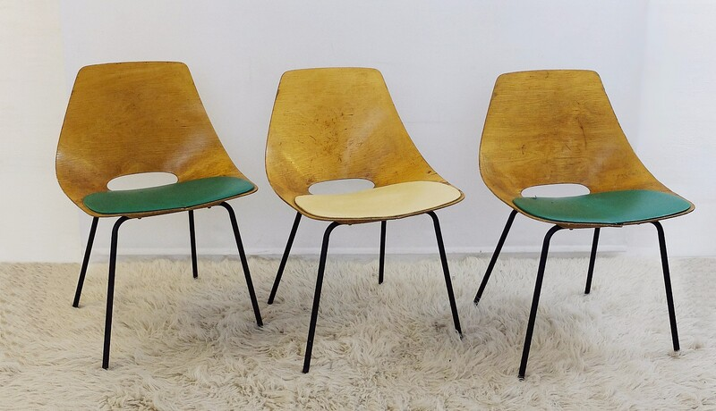 Set of 3 Tonneau chairs by Pierre Guariche for Steiner