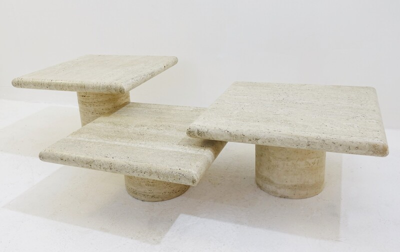 Set of 3 Travertine Side Tables - 1970s