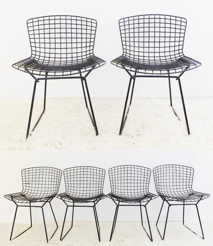 Set of 4 + 2 Bertoia side chairs