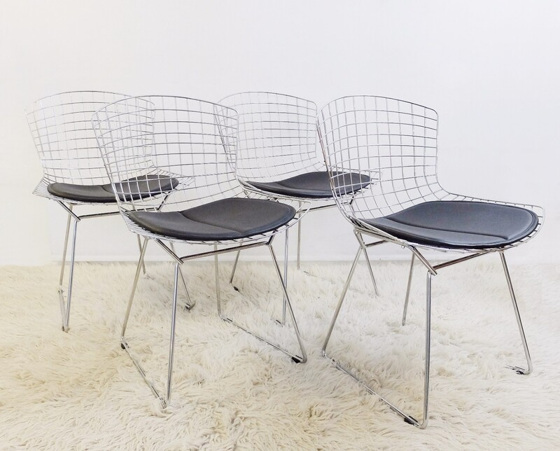 set of 4 Bertoia Wire Chairs with Black Leather