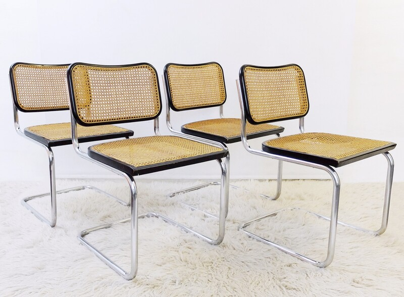 set of 4 cidue chairs - Chrome tubular steel frame with woven cane