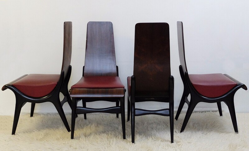 Set of 4 italian chairs Manufactured by Pozzi & Verga, Italy, c. 1960